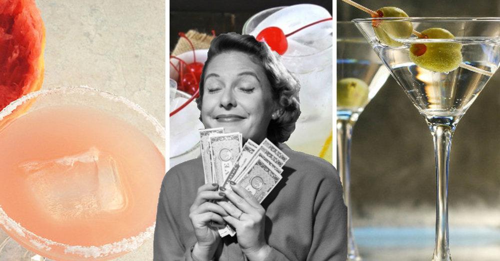 Cheap Cocktails Vintage Lady Money