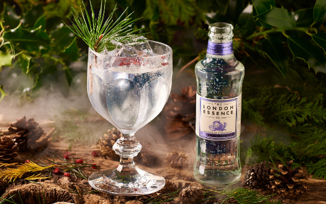 London essence grapefruit and rosemary tonic water with G&t in a forest setting