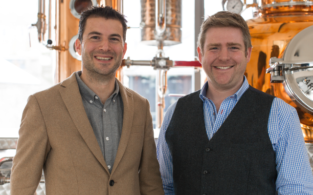 Howard Davis and Angus Lugsdin in the Salcombe Gin Distillery