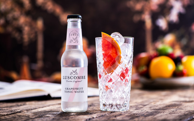 Luscombe grapefruit tonic water with a slice of pink grapefruit