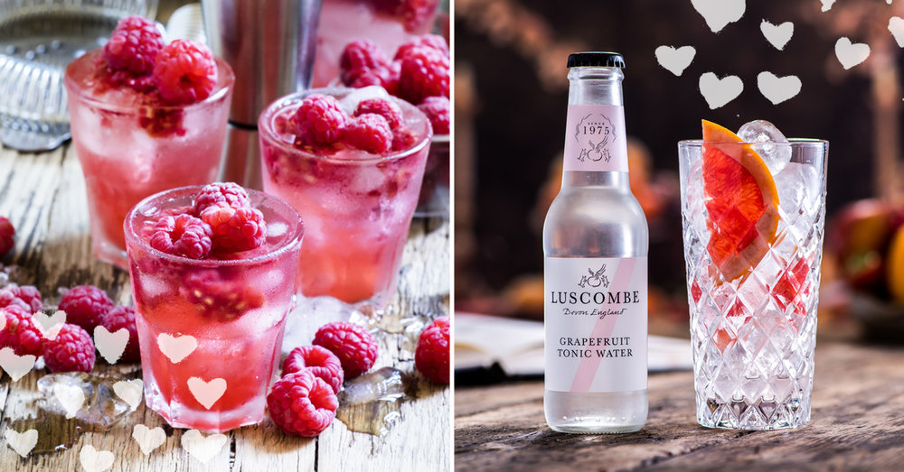 Raspberry cocktail and Luscombe grapefruit gin tonic