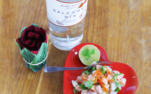 Salcombe Gin Sea Bass and Salmon Ceviche