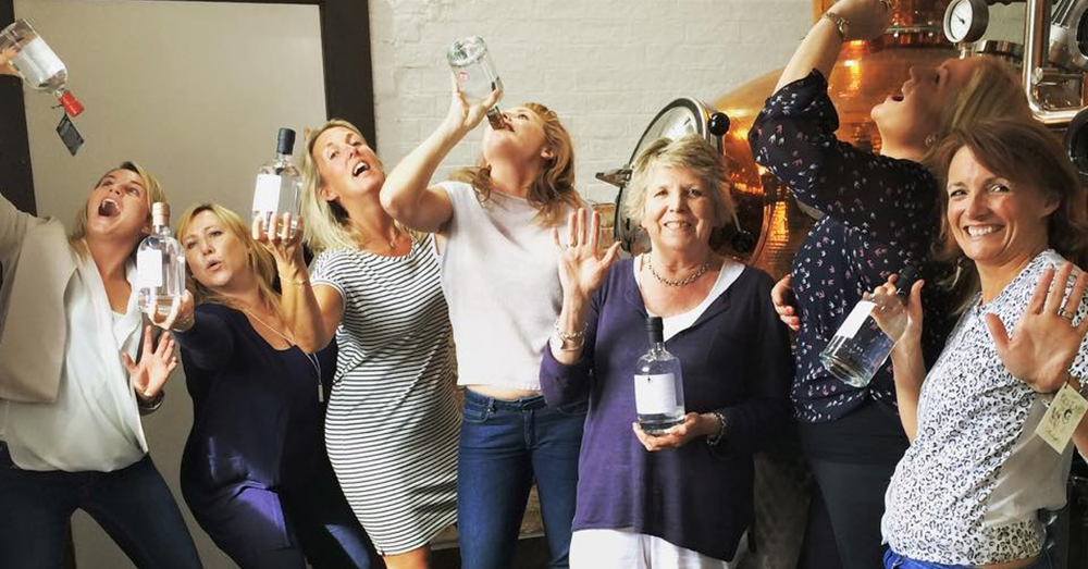 Women at Gin Distillery Drinking