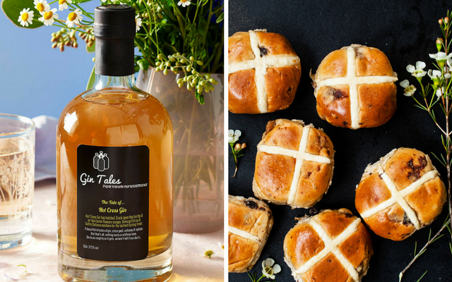 Hot cross bun flavoured gin and a plate of hot cross buns
