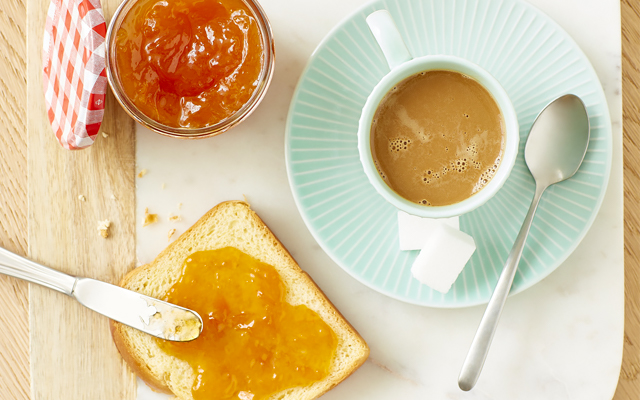 Bonne Maman marmalade toast coffee breakfast