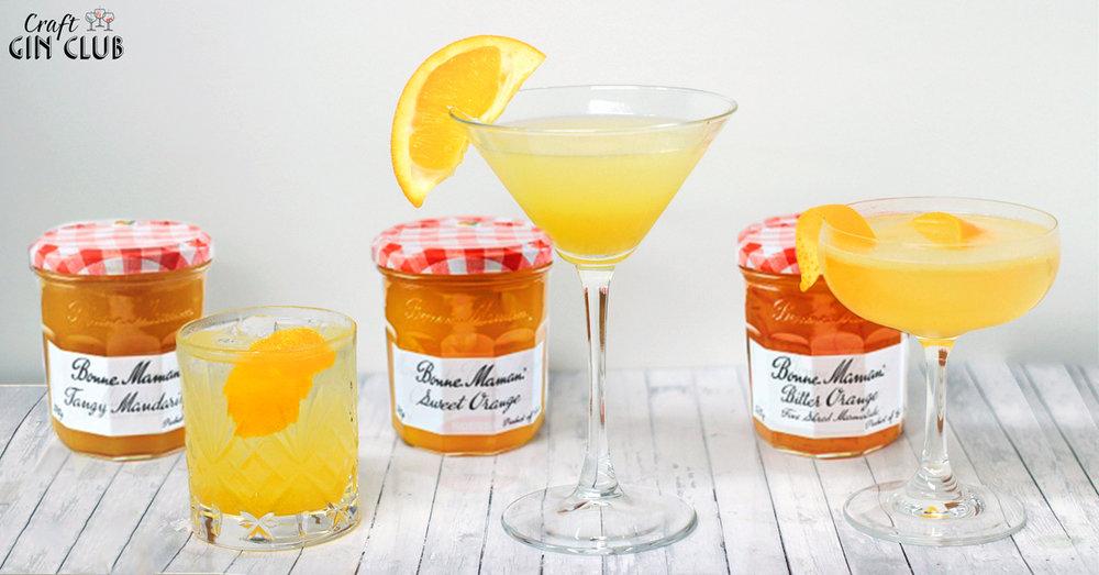 Bonne Maman marmalade gin cocktail trio
