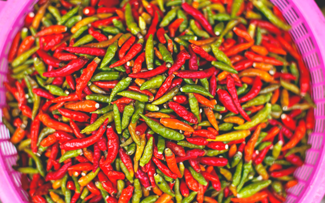 Basket of green and red chillis