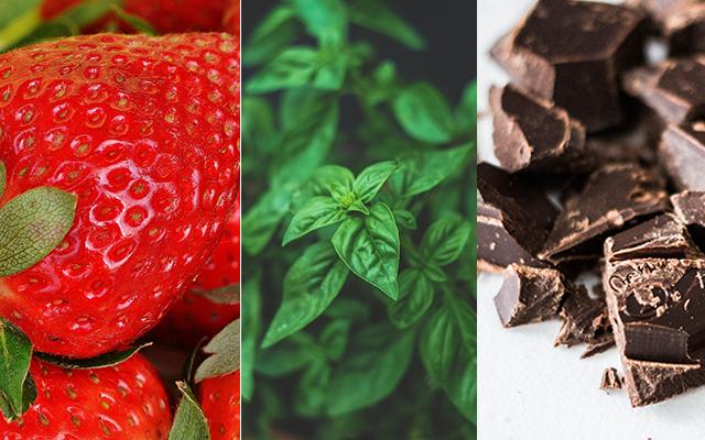 Strawberry, basil, chocolate