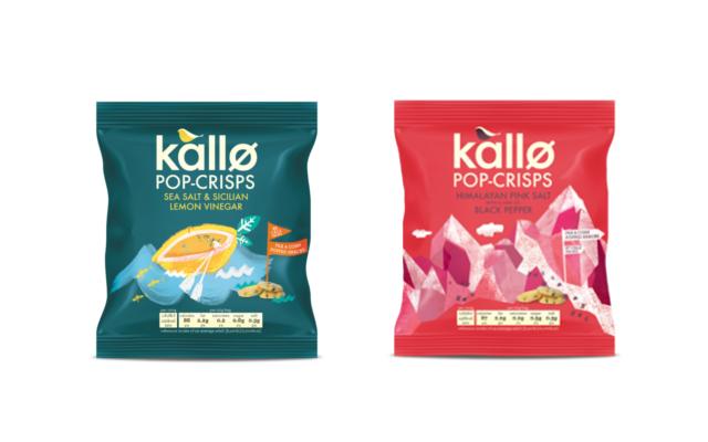 Kallo Pop-crisps pink salt & pepper and sea salt and lemon