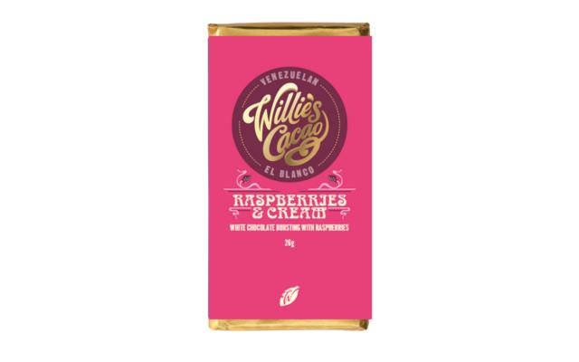 Willies raspberry and cream white chocolate bar
