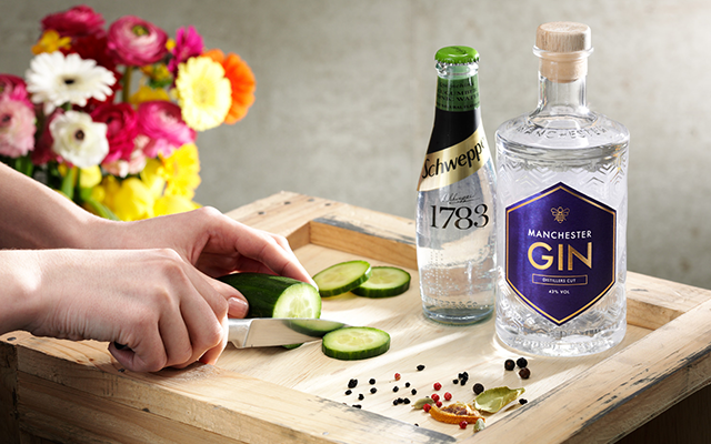 Manchester gin distillers cut with a cucumber Schweppes Tonic and cucumber