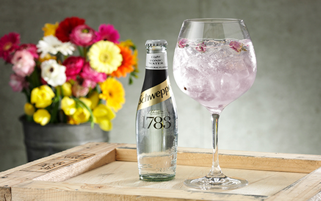 Schweppes light tonic, spring flowers, Pink gin and tonic with botanicals