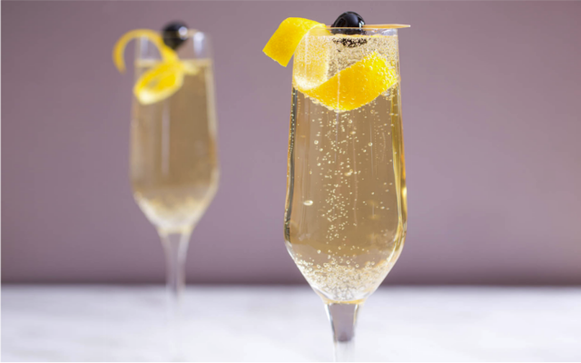 French 75 gin and champagne cocktails
