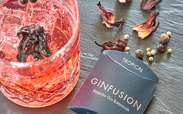 Tropical Ginfusion botanicals and gin and tonic