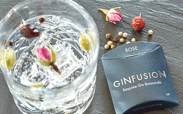 Ginfusion Rose dried botanicals and gin and tonic