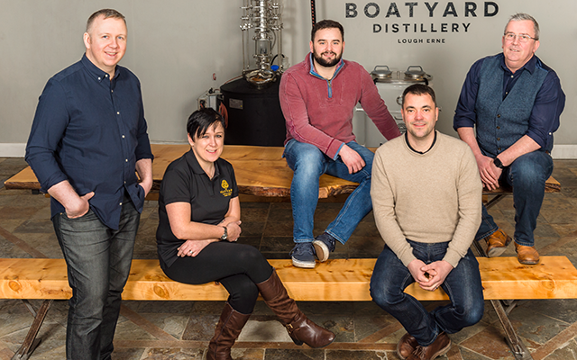 The staff at The Boatyard gin distillery