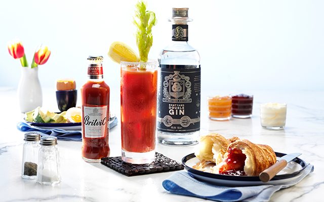 Boatyard gin and Britvic tomato juice with croissant and egg