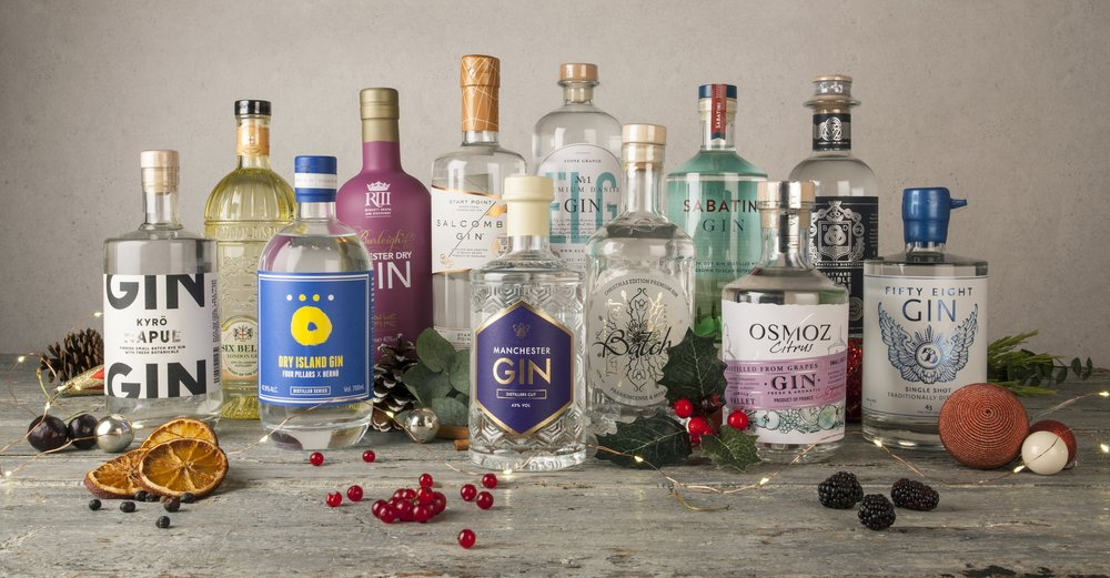 Image showing 12 bottles of craft gin, including Manchester Gin, Salcombe Gin, ELG Gin, Dry Island Gin, 58 Gin, Boatyard Gin, Batch Gin, Burleigh's Leicester Dry Gin, Sabatini Gin, City of London Distillery Six Bells Gin, Osmoz Gin and Napue Gin.