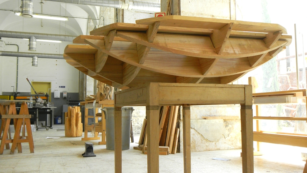 La Blue Balance is never stable.   Wood.   121 x 138 x 138 cm.   Lisbon, Portu  gal. 2011