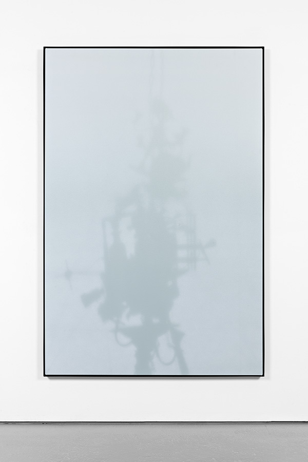 Shadow Canvas # 24 (2015) Acrylic on canvas, steel frame. 180 x 120 cm.