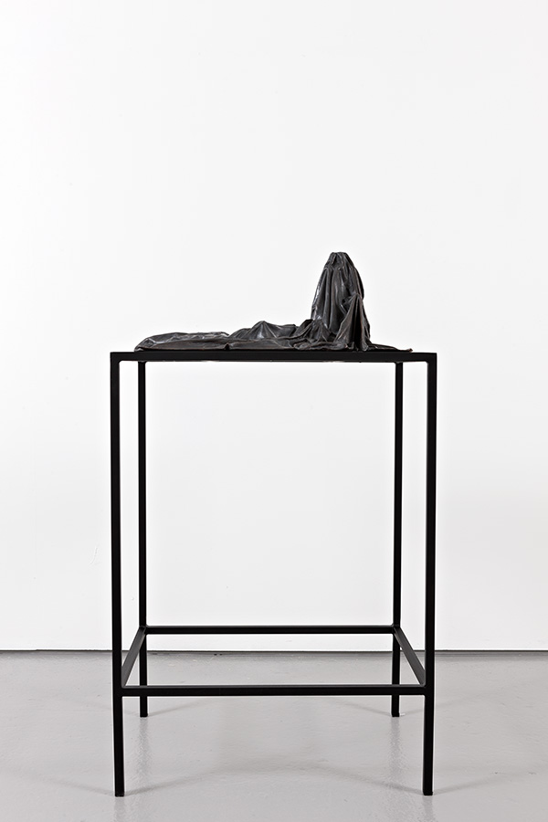Silent Codes IV (2015) Bronze on steel and mdf table.  Sculpture: 26 x 51 x 64 cm, table: 100 x 55 x 72 cm.