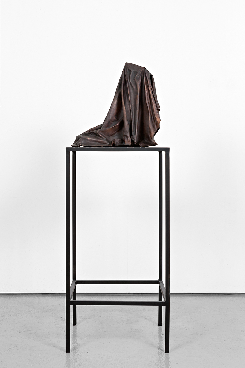 Silent Codes V (2015) Bronze on steel and mdf table.  Sculpture: 46 x 45 x 51 cm, table: 100 x 48 x 51 cm.