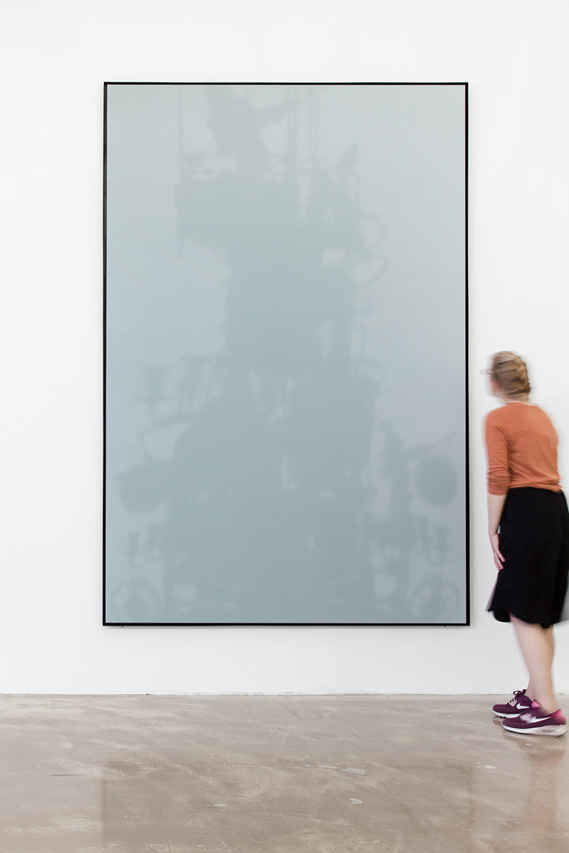 Shadow Canvas # 34 (2015) Acrylic on canvas, steel frame. 270 x 180 cm.