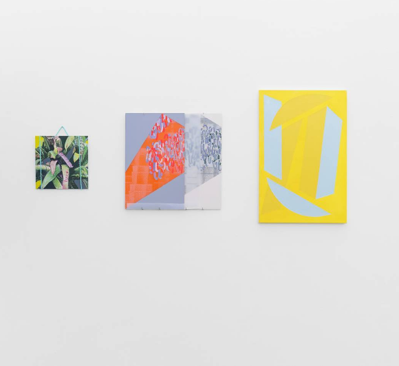 Fully Awake , Blipblipblip Gallery, Leeds [left]  Monologue , oil and acrylic on aluminium panel, with nylon rope. [middle] Moyra Derby [right] Vanessa Jackson