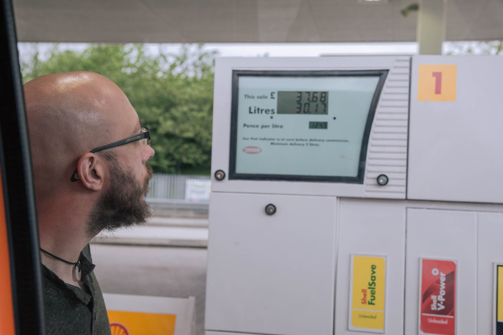 The look of despair as the fuel costs continue to rise