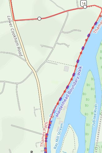 Take lower Cookham Road to avoid cycle ban on Thames Path