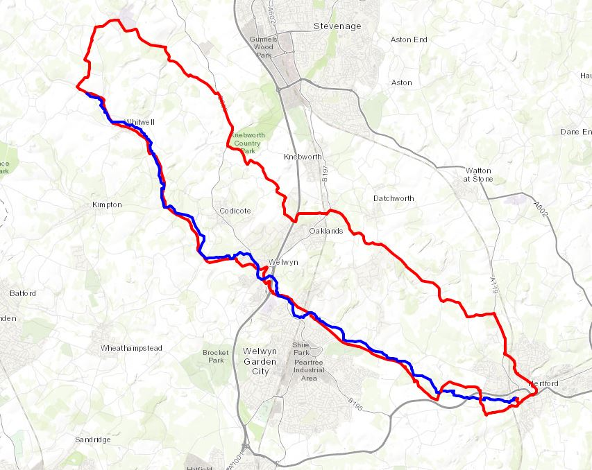 Blue = River, Red = Cycle Route