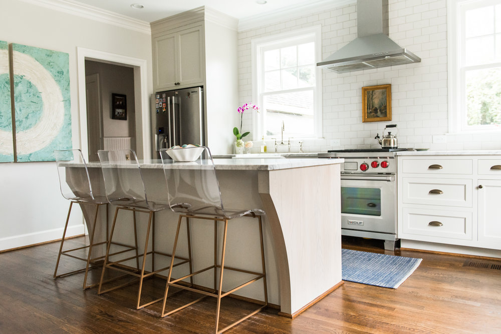 Gabby Home King Acrylic Stool in this charming Homewood, Alabama kitchen. Kitchen designed by Katrina Porter Designs. Photographed by Paula Coldiron.