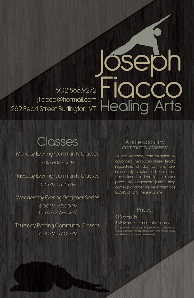 Healing Arts class schedule poster for yoga teacher in Burlington Vermont.