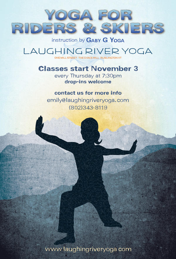 "Postcard design advertising ""Yoga for Riders and Skiers"" class series"