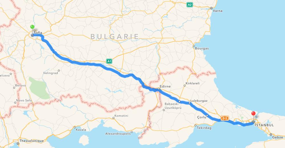 Notre itinéraire de Sofia en Turquie à Istanbul en Turquie.