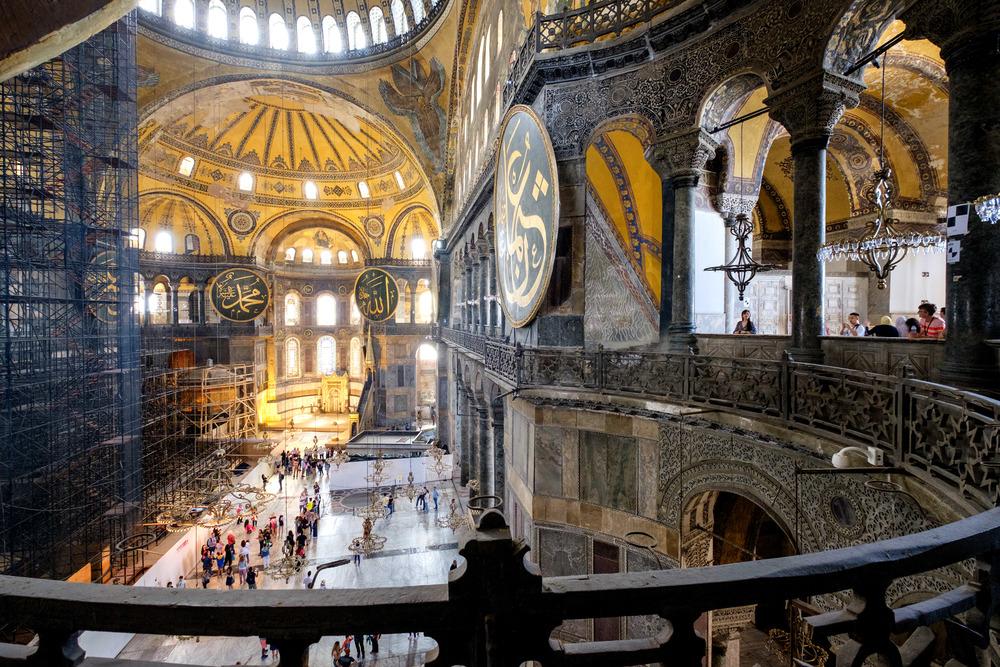 L'intérieur de Hagia Sophia, malheureusement en rénovations lors de ma visite.