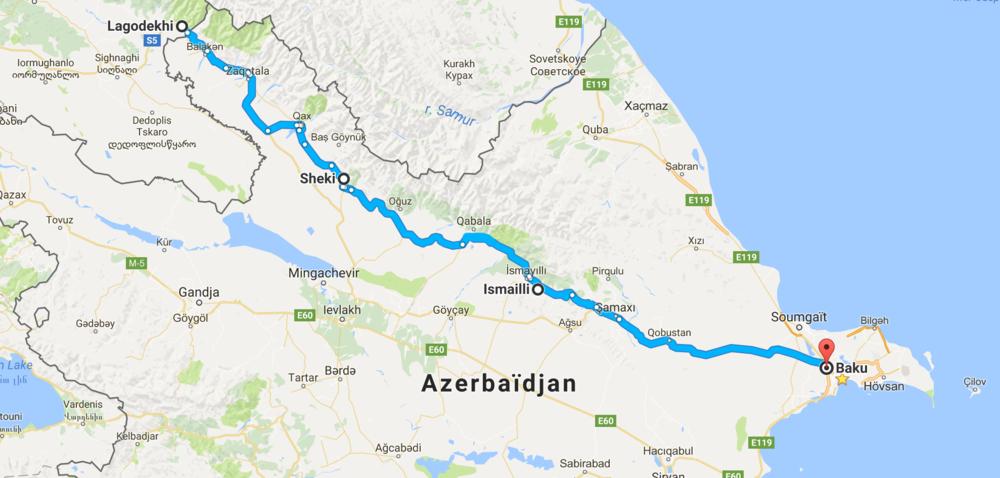 415 km de la frontière à Baku.