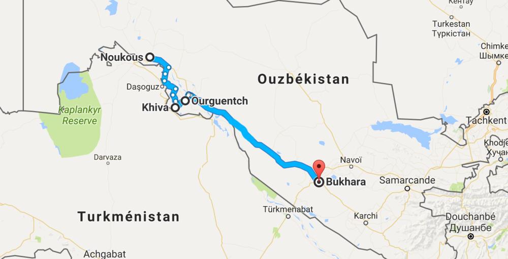 640 km entre Noukous et Bukhara, en passant par Khiva et Ourguentch. Principalement à travers le désert...!