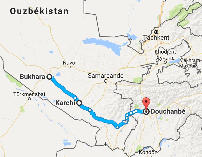 Fin du périple ouzbek, et entrée au Tadjikistan. Ligne de 550 km.