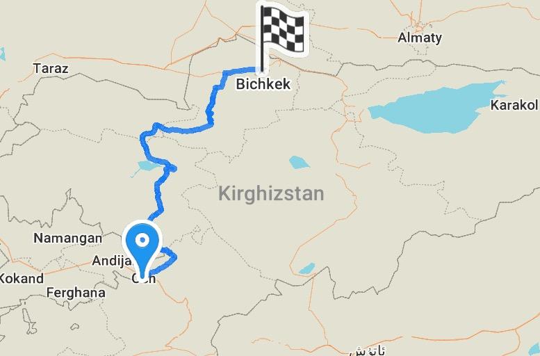 Och à Bichkek, un peu plus de 580 km à travers les montagnes.