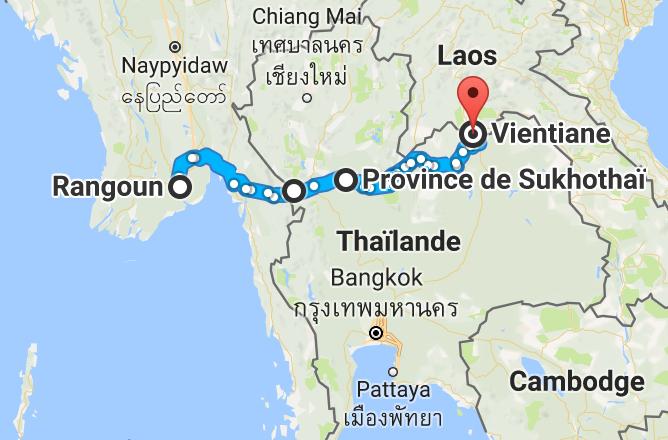 Près de 1 100 km pour terminer la Birmanie et traverser le nord de la Thaïlande vers le Laos.