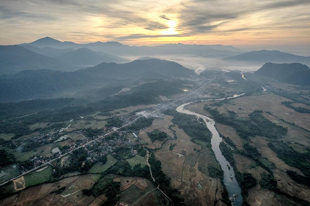 La vue absolument fantastique du Laos, vue de la nacelle.