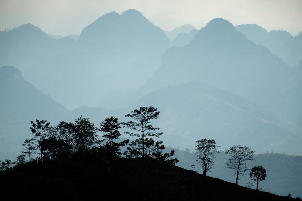 Les montagnes du nord du Vietnam.