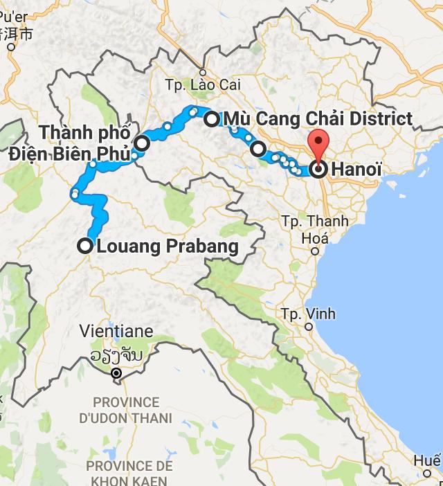 Les quelque 920 km entre Louang Prabang, au Laos, et Hanoï, au Vietnam, avec quelques détours par le nord.