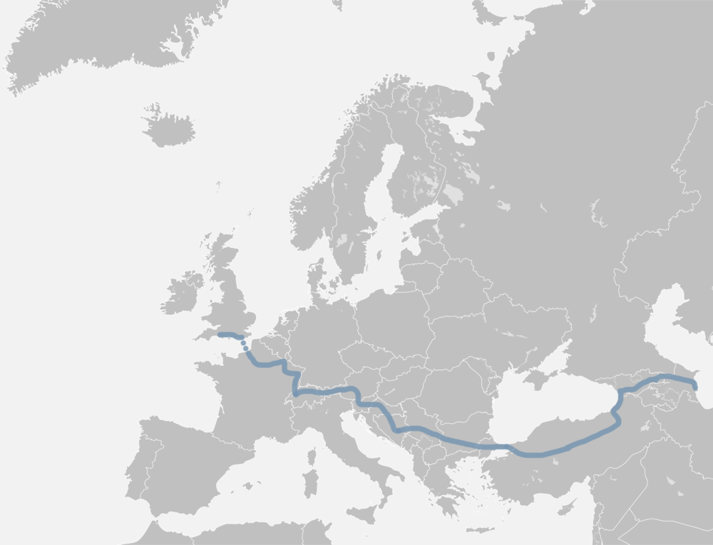 Le chemin parcouru en Europe jusqu'à la mer Caspienne.