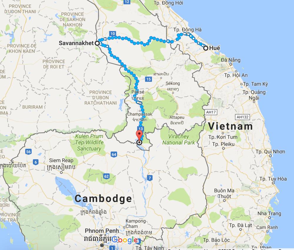 Retour sur mes pas au Vietnam, puis l'entrée au Laos, direction le Cambodge. Environ 800 km.