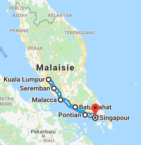 450 km entre Kuala Lumpur et Singapour.