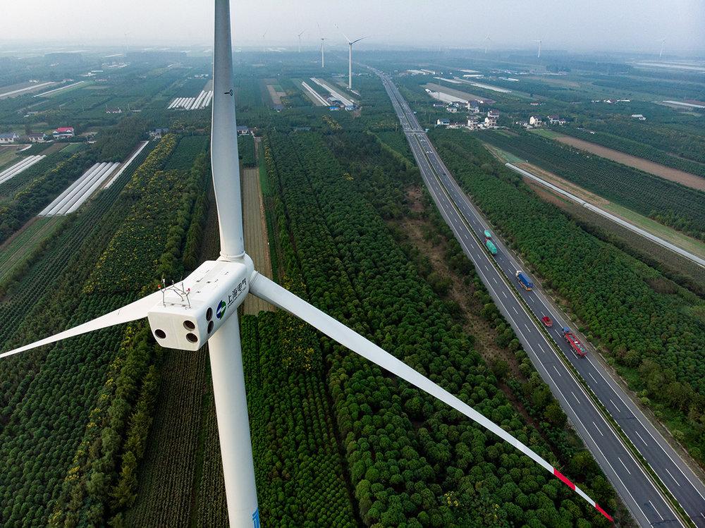Je croise quelques centaines d'éoliennes le long de cette longue autoroute vers le nord.