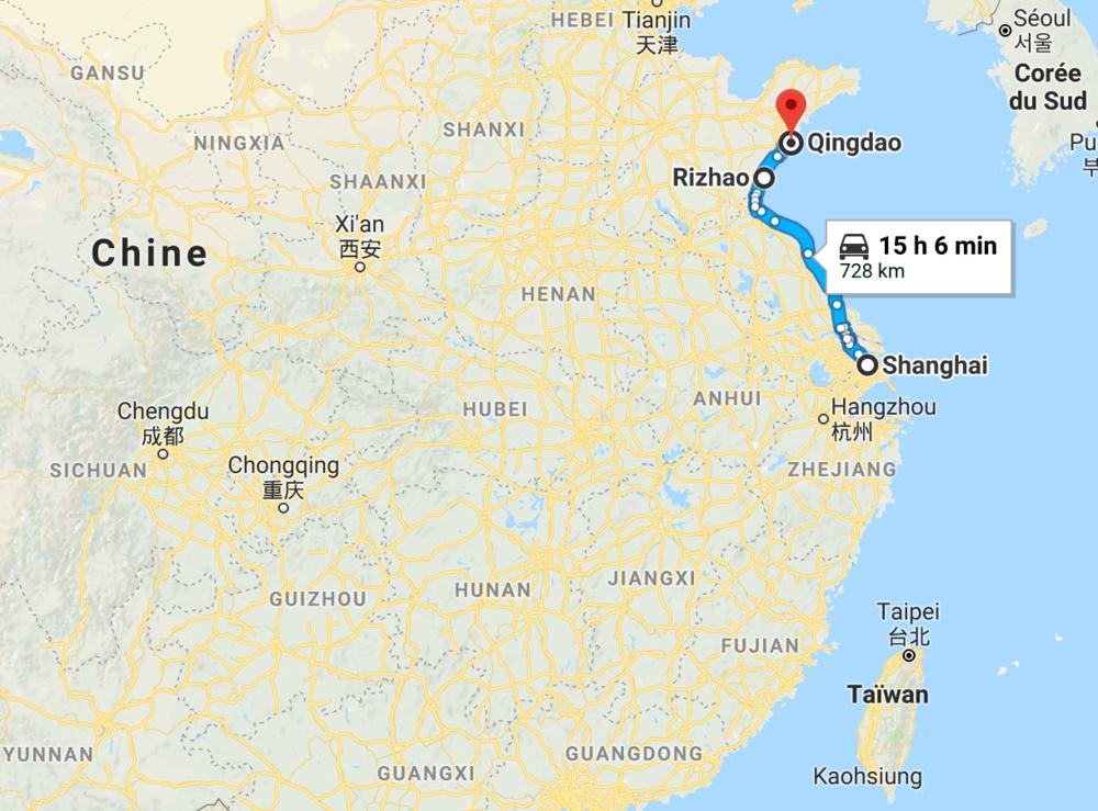 730 km, de Shanghai à Qingdao en une semaine.
