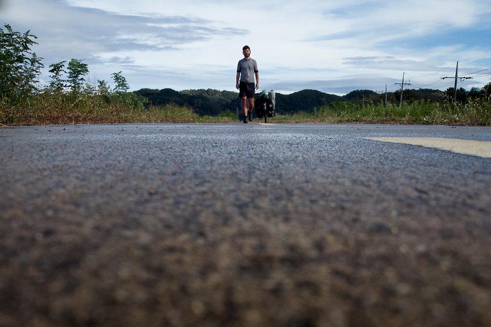 Peu après la tempête, sur une route encore mouillée.